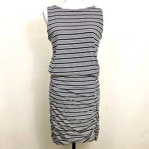 Athleta Dresses - Athleta Striped Tulip Dress with Ruched Skirt